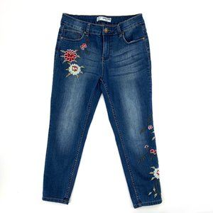 Sandpiper Floral Embroidered Jeans Pants 8Petite